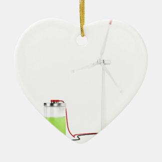Batterie de remplissage avec la turbine de vent ornement cœur en céramique