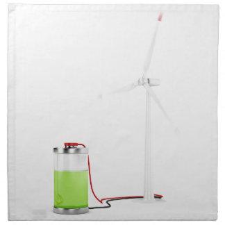 Batterie de remplissage avec la turbine de vent serviette imprimée