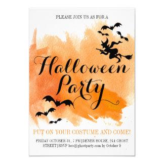 Battes de Halloween et aquarelle moderne de Carton D'invitation 12,7 Cm X 17,78 Cm
