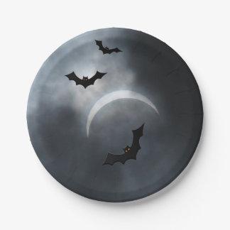 Battes éffrayantes de Halloween dans l'éclipse Assiettes En Papier