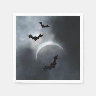Battes éffrayantes de Halloween dans l'éclipse Serviette Jetable