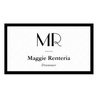 Batteur - monogramme élégant propre modèle de carte de visite