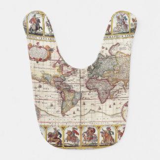 Bavoir 1652 carte du monde, carte du monde d'atlas de mer