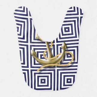 Bavoir Ancre nautique de très bon goût de motif grec bleu