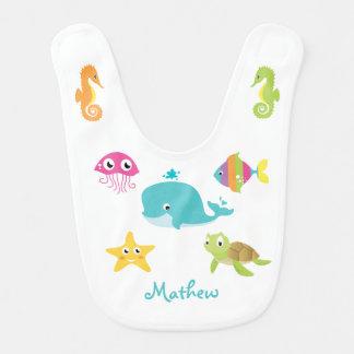 Bavoir Animaux de mer : baleine, hippocampe, bip de bébé