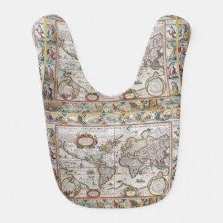 Bavoir antique de bébé de carte du monde