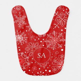 Bavoir Beaux flocons de neige sur Noël rouge d'arrière -