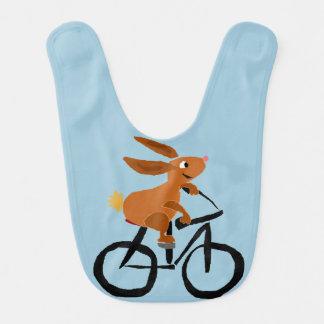 Bavoir Bicyclette drôle d'équitation de lapin