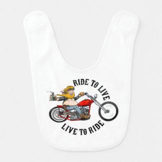 Bavoir biker motard ride to live