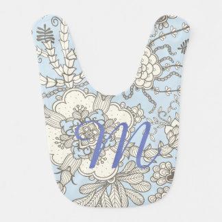 Bavoir bleu de monogramme de Paisley