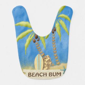 Bavoir Bon à rien, planches de surf, palmiers et sable de