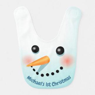 Bavoir Bonhomme de neige mignon de Noël avec le nez de