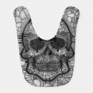 Bavoir Crâne en verre de mosaïque, blanc noir