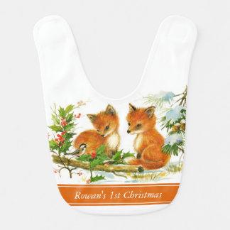 Bavoir de bébé de Noël de renards de bébé premier