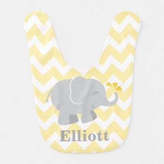 Bavoir | de bébé d'éléphant jaune et gris