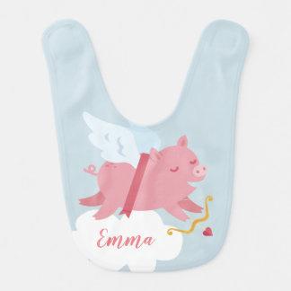 Bavoir de Valentine de porc de cupidon