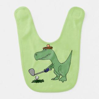 Bavoir Dinosaure drôle de T-Rex jouant au golf