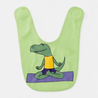 Bavoir Dinosaure vert drôle de T-Rex faisant le yoga