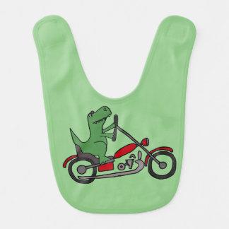 Bavoir Dinosaure vert drôle de T-rex sur la moto