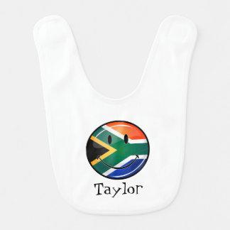 Bavoir Drapeau sud-africain heureux rond brillant