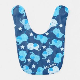 Bavoir Éléphants bleus de motif de bébé