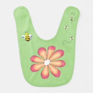 Bavoir Fleurs et abeilles