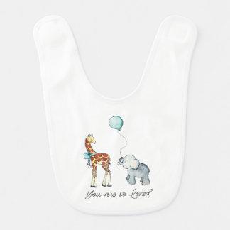 Bavoir Girafe et éléphant adorables vous êtes ainsi aimé