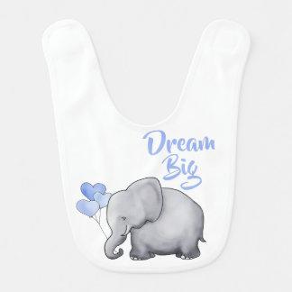 Bavoir Grands éléphants magnifiques rêveurs bleus de