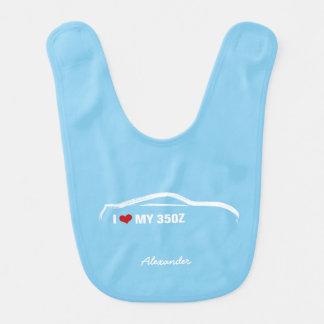 Bavoir J'aime mon 350Z - bleus layette