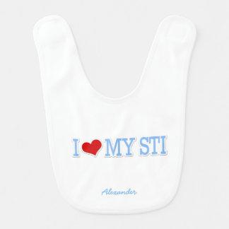 Bavoir J'aime mon STI - bleu layette