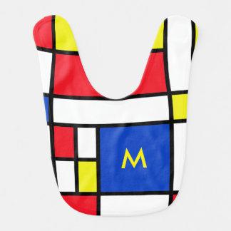 Bavoir jaune rouge de bébé bleu de Mondrian