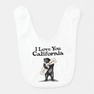 Bavoir Je t'aime étreinte d'ours de la Californie