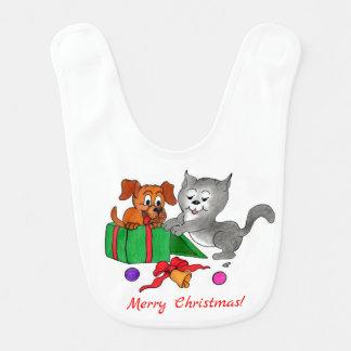 Bavoir Joyeux Noël avec le chat et le chien