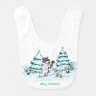Bavoir Joyeux Noël ! Bonhomme de neige avec le chat et le