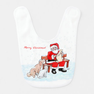 Bavoir Joyeux Noël ! - Le père noël avec le chat et le