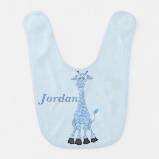 Bavoir La girafe bleue mignonne de l'enfant