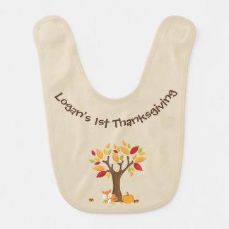 Bavoir Le ęr thanksgiving du bébé avec l'arbre, le Fox et