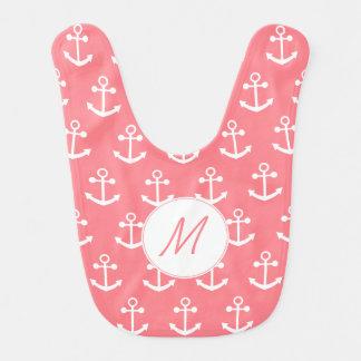 Bavoir Le monogramme rougissent l'ancre nautique de rose