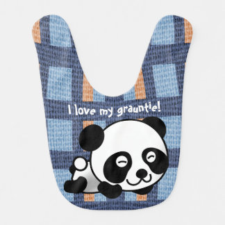 """Bavoir Le panda, le plaid et """"moi doux aiment mon"""