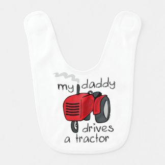 Bavoir Le papa conduit un tracteur