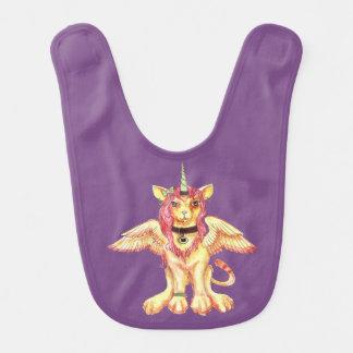 Bavoir Licorne magique jaune verte rouge de chat de lion