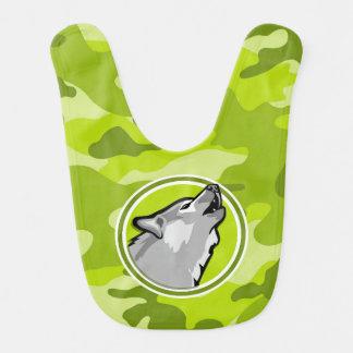 Bavoir Loup ; camo vert clair, camouflage