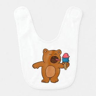 Bavoir L'ours de bande dessinée mange la crème glacée