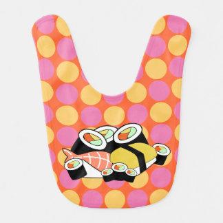 Bavoir lunatique de bébé de pois de sushi