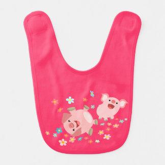Bavoir mignon de bébé de deux porcs de bande