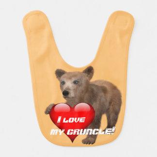 """Bavoir Mignon """"j'aime mon Gruncle !"""" avec l'ours"""