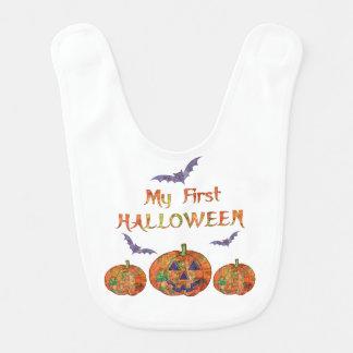 Bavoir Mon premier Halloween pour le bébé : Citrouilles