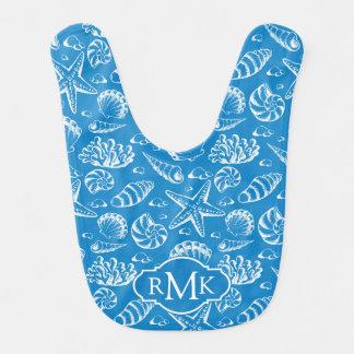 Bavoir Monogramme bleu du motif | de plage