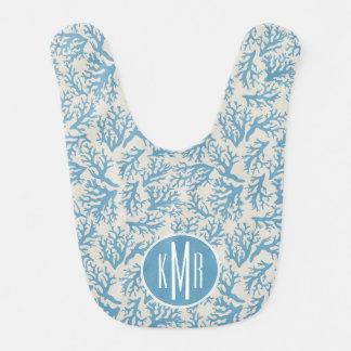 Bavoir Monogramme de corail bleu du motif |