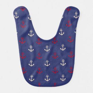 Bavoir Motif nautique d'ancres de rouge et de bleu marine